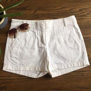 J. Crew white chino shorts, 3 inch inseam, size 2